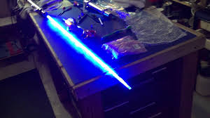 experimental lightsaber string blade 3 royal blue 5mm leds test 1 you