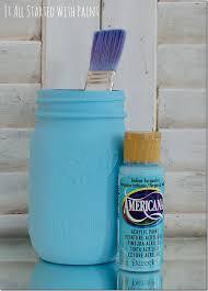turquoise painted mason jars