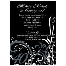 40th Birthday Invitations Cabiri Black 40th Birthday Invitations