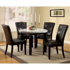 marion i espresso marble top round dining table set