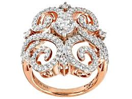 cubic zirconia silver and 18k rose gold over silver ring 3 05ctw 1 40ctw dew