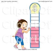 Clipart Of A Girl Marking A Financial Goal Chart Royalty