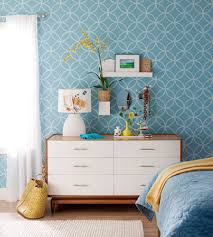 Teal And White Bedroom Teal Colored Wallpaper With White Wooden Bedroom Dresser Design