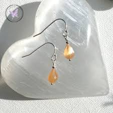 Charms Of Light Moonstone Faceted Peach Moonstone Drop Earrings Charms Of Light