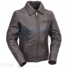 premium black leather braided cruiser motorcycle jacket front view