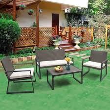 Costway 4PCS Rattan Patio Furniture Set Wicker Cushioned Seat Sofa Garden Lawn Sofa imwidth=320&impolicy=medium