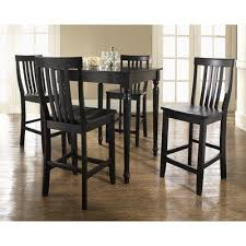 Crosley KD520011BK Five Piece Pub Dining Set with Turned Leg Table and  Barstools in Black by