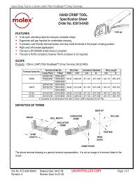 Hand Crimp Tool Specification Sheet Order No 63819 0400