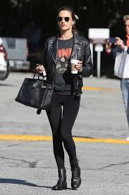 alessandra ambrosio leather acne studios biker jacket black biker jacket black sweatshirt