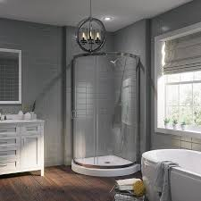 OVE Decors Breeze Chrome Acrylic Floor Round 2-Piece Corner Shower Kit  (Actual: