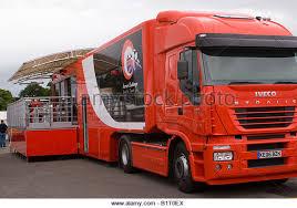 ferrari truck. the ferrari challenge team dealership sponsorship entertainment truck at oulton park cheshire england united kingdom - e