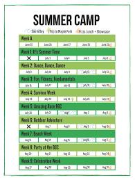 Summer Camp Weekly Schedule Summer Camp Burlington Gymnastics Club