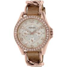 fossil women s riley es3466 rose gold leather japanese quartz fashion watch