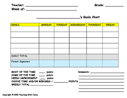 Behavior Modification Charts For Parents Behavior Modification Plan Weekly Goals Page