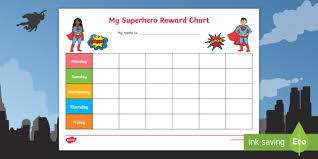 Superhero Themed My Reward Chart Pack Activity My