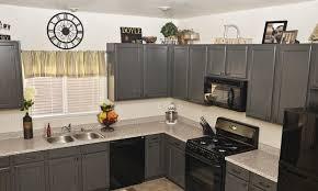 Kitchens Grey Kitchen Cabinet With Black Appliances Light Grey