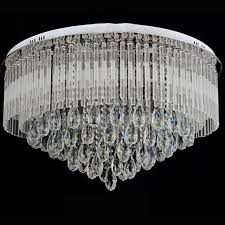modern round k9 crystal led flush ceiling light chandelier remote ctrl