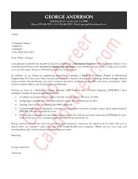 Cover Letter Sample For Mechanical Engineering Job Adriangatton Com