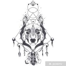 Fototapeta Vinylová Vektorové Ilustrace čelní Pohled Na Vlčí Hlava Geometrické Náčrtek Tetování Tisk Abstraktní Etnický Kmenový Vzor