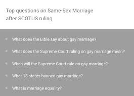 when scotus passed same sex marriage people googled what does  gay marriage