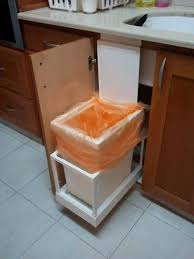 Kitchen Cabinet Garbage Drawer I Made This Automatic Kitchen Trash Can That Opens With The
