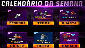 CALENDÁRIO SEMANAL DIAS 02 ATÉ 07 DE MARÇO NO FREE FIRE - YouTube