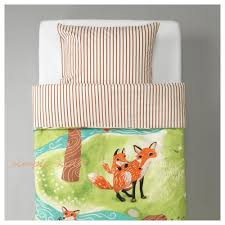 ikea vandring rav duvet cover 2 pc set twin kids bed children forest fox new