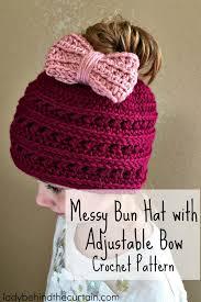 Bun Hat Crochet Pattern Simple Messy Bun Hat With Adjustable Bow Crochet Pattern