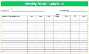 Blank Employee Schedule Regular 8 Weekly Work Calendar Bud Template