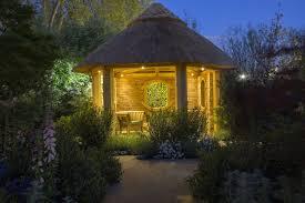 summer house lighting. Oak Summerhouse Lit At Night With Hunza Garden Lights - Lighting  Installation And Frame Summer House D