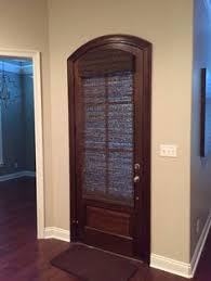 Need A Little Privacy For Your Door This Beautiful Arched Stained Door Is  Covered With Pinterest