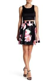 Top And Floral Skirt Set