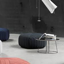 Muuto   Airy Coffee Table, Small, Black/ Five Pouf