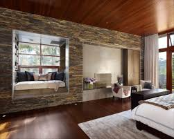 Purple And Brown Bedroom Stone Accent Wall Bedroom Platform Bed With Purple Quilt And Dark