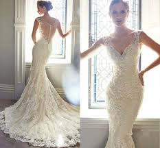 vintage ivory lace bridal gowns long mermaid wedding dresses 6 8