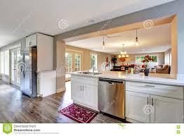 White Kitchen With Hardwood Floors Open Floor Plan White Kitchen Room With Polished Hardwood Floor