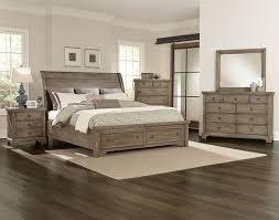 vaughan basset whiskey barrel 4pc sleigh storage bedroom set in rustic gray