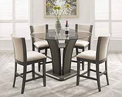 Glass top dining sets Frosted Glass Image Unavailable Amazoncom Amazoncom Roundhill Furniture P051gy Kecco Gray 5piece Round