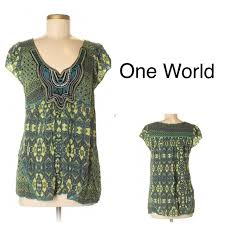 One World Dress Size Chart One World Boho Tunic Top Embroidered Detail Nwot S