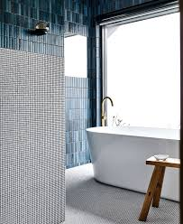 washroom and features clear aesthetics and hot trendy color and tile compositions the fashionable denim blue is combined in duo entwinement whit