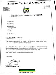 Contribution Letter The Ancs R3m Thank You Letter To Bosasa News24