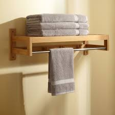 wood towel bar. Bath And Shower, Modern Bathroom Wall Shelf Made Of Wood Completed With Straight Towel Bar .