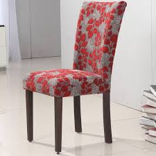 awesome parsons chairs in gray and red theme with leaf pattern for home furniture ideas