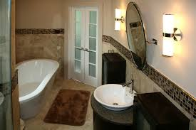 travertine tile bathroom floor and wall tile with glass mosaic insert