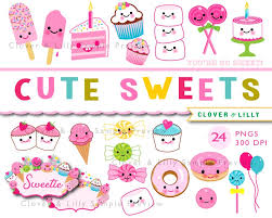 Cute Sweets Kawaii Clipart Cupcakes Candy Birthday Cake Etsy