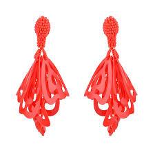 red hot hollow fl chandelier earrings