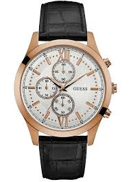 men s watch guess rose gold black leather chronograph w0876g2 e men s watch guess rose gold black leather chronograph w0876g2 e oro gr guess watches