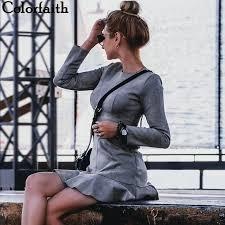 Colorfaith New <b>2019</b> Women Dresses <b>Autumn</b> Winter Vintage ...