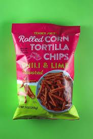 an unopened bag of trader joe s rolled corn tortilla chips