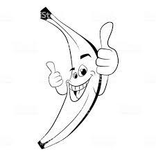 スーパー バナナ親指の塗り絵のシルエット テンプレート アップ